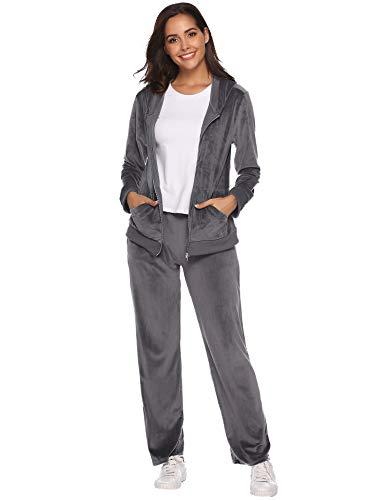 Aibrou Women's Velour Sweatsuit Active Zip Hoodie Tracksuit Set Loungewear (Dark Gray_1, Medium)