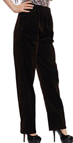 Elastic Waist Corduroy Pants - Vska Womens Slouchy Elastic Waist Stretch Plus Size Corduroy Pants Coffee 2XL