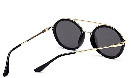 moda redondeado LSHGYJ cuadro gafas gafas box star los GLSYJ de modelos Black personalidad mercury Señora retro of sol qqR7vr
