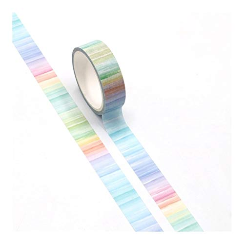 Duo Mei Qi Cute Watercolor Print Rainbow Washi Tape Paper for Scrapbooking DecorativeMasking Tape Stationery (Color : Multi-Colored)
