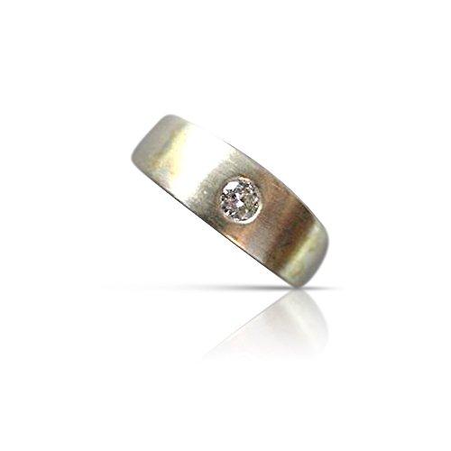 Milano Jewelers .17CT DIAMOND 18KT WHITE & YELLOW GOLD MATTE SINGLE STONE MENS RING #9336 -