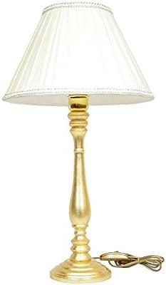 Lámpara grande Lume de madera dorada de mesa Tulipa Tejido Plisado ...