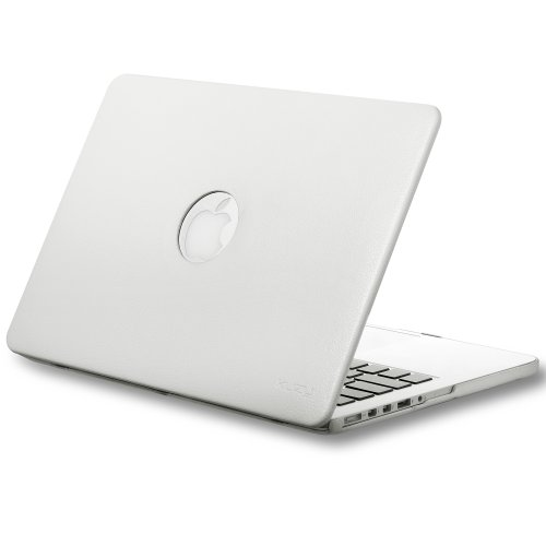 Kuzy WHITE LEATHER Hard Case for Older MacBook Pro 13.3