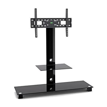 G VO Black Glass Metal TV Stand With 2 Black Tempered Glass Shelves And  Swivel