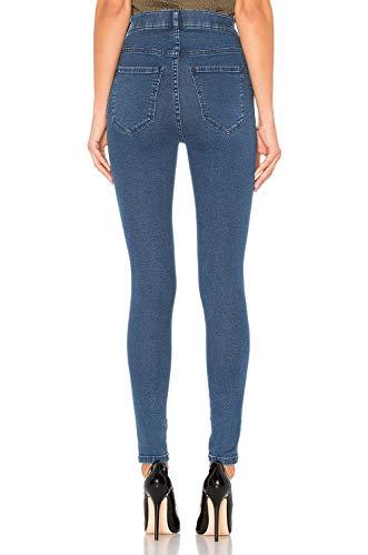 en Denim Pants Skinny Femme Fonc H Stretch HIAMIGOS Jean Haute Bleu lastique Super Taille Pantalons qazvgpP