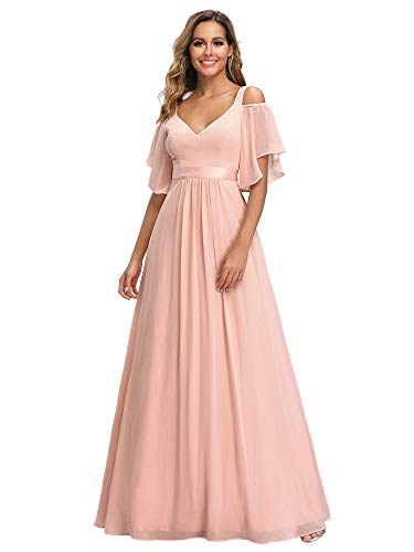 Ever-Pretty Women's Double V-Neck Cold Shoulder Bridesmaid Dress for Women Formal Gowns Pink US14