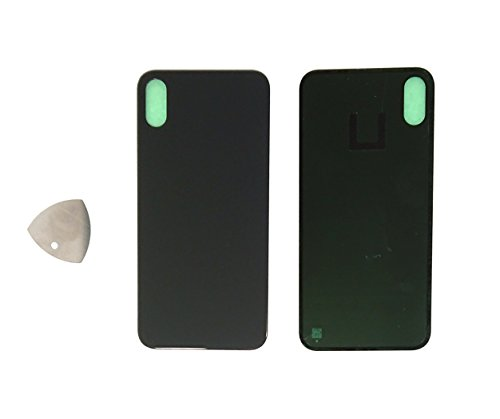 """(md0410) Black Space Gray Back Glass Battery Door Cover Replacement Compatible iPhone X 5.8"""" + Precut Adhesive + Tool (10th gen) -  43235-133443"""