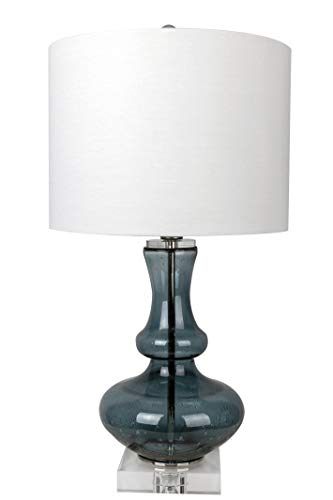 Grandview Gallery 22 Curvy Sapphire Seeded Glass Accent Lamp ft. Genuine Crystal Accents and Crisp White Linen Shade – Glamorous Contemporary Lighting for Any Room