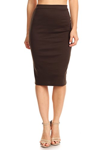 High Waist Band Bodycon Career Office Midi Stretchy Pencil Skirt/Made in USA Brown ()