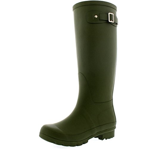 Womens Original Tall Snow Winter Wellington Waterproof Rain Wellies Boot - Olive Green - 11 - 42 - CD0003