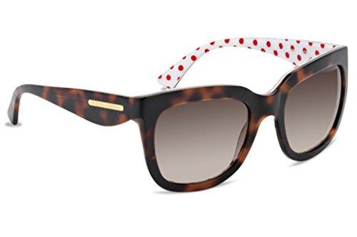 Dolce & Gabbana DG4197 Sunglass-287213 Havana/Red (Brown Grad - Leaf Gabbana & Gold Sunglasses Dolce