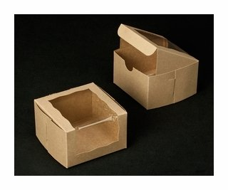 White Bakery Box With Wraparound Window 4x4x2.5 inch - 25 Pack - Eco-Friendly Paperboard Take Out Gift Boxes for Pastries, Cookies, Cupcakes, and more - by Golden Coast Unlimited (Brown)