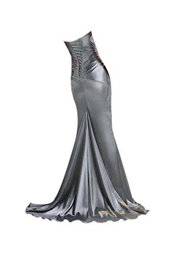 a da lungo spalline Vickyben elegante 38 bordeaux perle donna senza sirena con Abito tqwqB5Xr8