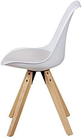 KADIMA DESIGN Scénographie de 2 rétro scandinave Chaise AMIL Chaise rembourrée Blanc Fauteuil rembourré en Simili-Cuir de Cuisine