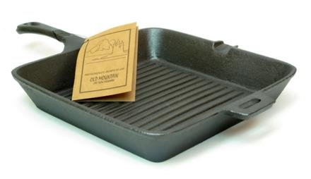 Old Mountain Cast Iron Preseasoned Square (Mountain Cast Iron Square Skillet)