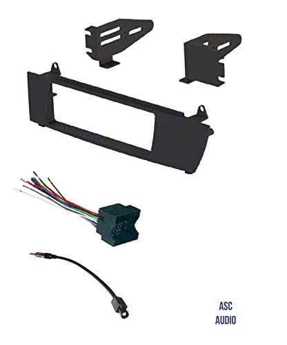ASC Car Stereo Install Dash Kit, Wire Harness, and Antenna Adapter to Install and Aftermarket Single Din Radio for 2004 2005 2006 2007 2008 2009 2010 BMW X3 (Bmw Professional Radio)