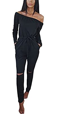 Hibluco Women's Sexy Off Shoulder Jumpsuits Knee Hole Pants Party Club Rompers