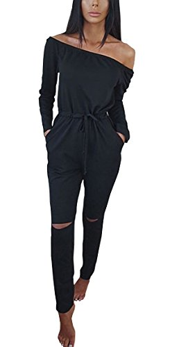 Hibluco-Womens-Sexy-Off-Shoulder-Jumpsuits-Knee-Hole-Pants-Party-Club-Rompers