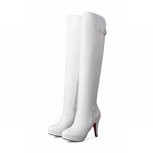 Mee Shoes Damen Reißverschluss Trichterabsatz Plateau langschaft Stiefel Weiß