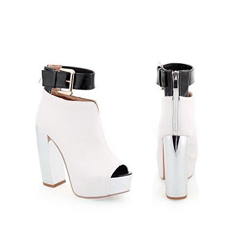 VogueZone009 Womens Open Peep Toe High Heel Chunky Heels Platform PU Soft Material Solid Boots White jXmJBM