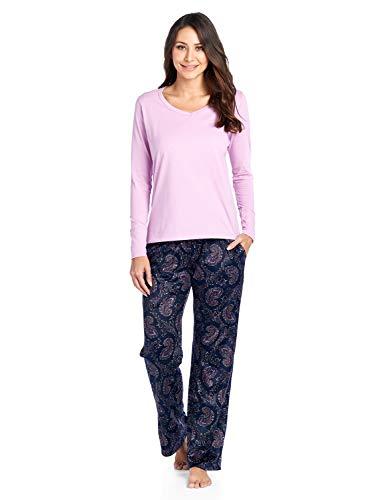Ashford & Brooks Women's Long Sleeve Cotton Top with Mink Fleece Pants Pajama Set - Pink Navy Paisley - Large