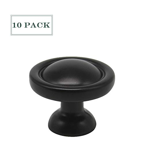 10 Pack Black Round Cabinet Knobs and Pulls Zinc Alloy Drawer Pulls Solid Kitchen Cabinet Hardware Knobs 1''Diameter