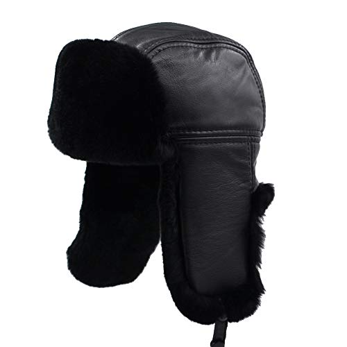 (Yosang Real Rex Rabbit Aviator Leather Russian Trapper Hat Winter Ushanka Cap with Ear Flaps Black)