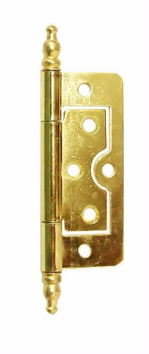 (Non Mortise Polished Brass Hinge with Finials 3
