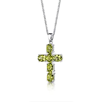 Radiant Glory Sterling Silver Rhodium Nickel Finish 4.50 carats Oval Shape Peridot CROSS Pendant