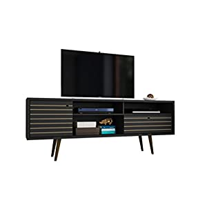Manhattan Comfort Liberty Collection Mid Century Modern TV Stand With One Cabinet and Two Open Shelves With Splayed Legs