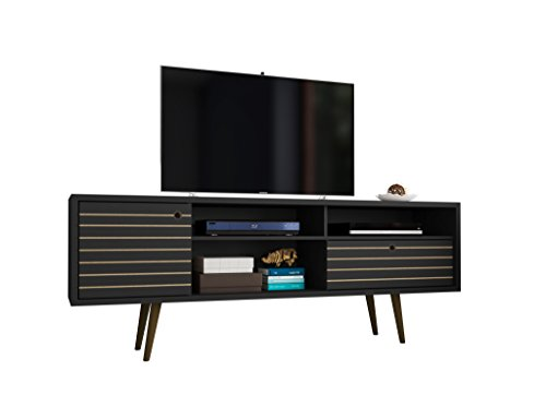 Manhattan Comfort 202AMC8 Liberty Mid-Century Modern Tv Stand, Large, Black