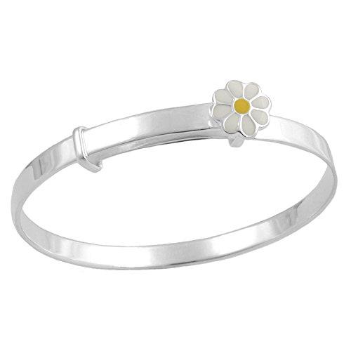 Kids Jewelry - Silver Enamel Daisy Adjustable Bangle Bracelet For Girls (Daisy Silver Baby Bracelets)