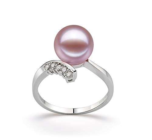 (Grace Lavender 9-10mm AAAA Quality Freshwater 14K White Gold Cultured Pearl Ring For Women - Size-6)