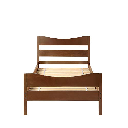 Merax Wood Platform Bed Frame Mattress Foundation with Headboard and Wooden Slat Support, Twin (Walnut)