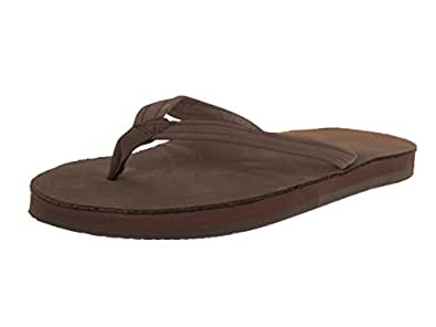 Rainbow Sandals Women Premier Leather Narrow Strap Single Layer, Expresso, Medium (6.5-7.5)