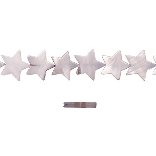 Shell Bead, Grey(Dyed) Mother-of-Pearl, Star Plate, 16x16mm 16 Inch/pack (2-pack Value Bundle), SAVE $1