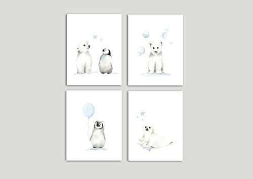 Penguin, Polar Bear and Seal Nursery Art Prints, Set of 4 Arctic Animals, Balloon and Stars, Various Sizes Available, UNFRAMED PRINTS