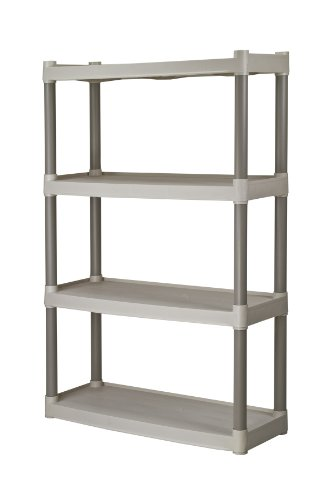Plano Molding 907-003 4 Shelf Utility Shelving | Plastic Shelving for Organization & Storage, Light Taupe