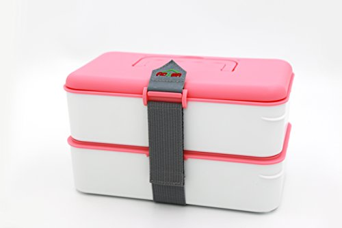 Bento Box Leak-proof 2 Compartment Lunch Box With Safe Materials Bento Lunch Box For Kids & Adults Pink by AOHEA