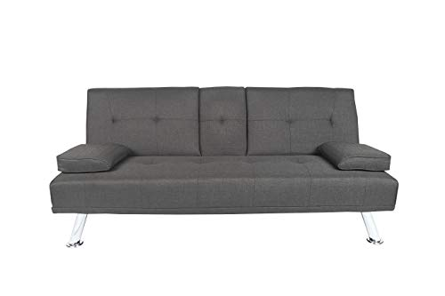 MOOSENG Home Futon Sofa Bed Modern Faux Leather Fold Up and Down Recliner Couch, Dark Gray-d