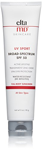 EltaMD UV Sport Sunscreen Broad-Spectrum SPF 50, Water-Resistant, Oil-free, Dermatologist-Recommended Mineral-Based Zinc Oxide Formula, 3.0 oz (Best Makeup For 40 And Over)