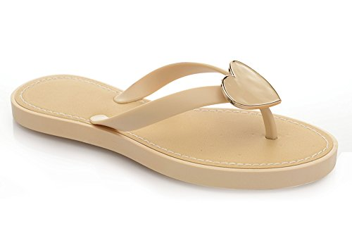 Perfect Me Ladies Flip Flop Womens Sandals Summer Jelly Beach Shoes Flat Toe Post Girls Nude / Beige Y3u4Fc1NV
