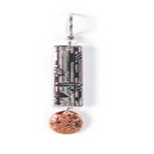 Jody Coyote Silver Branch with Copper Leaf Earrings (Copper Coyote Earrings)