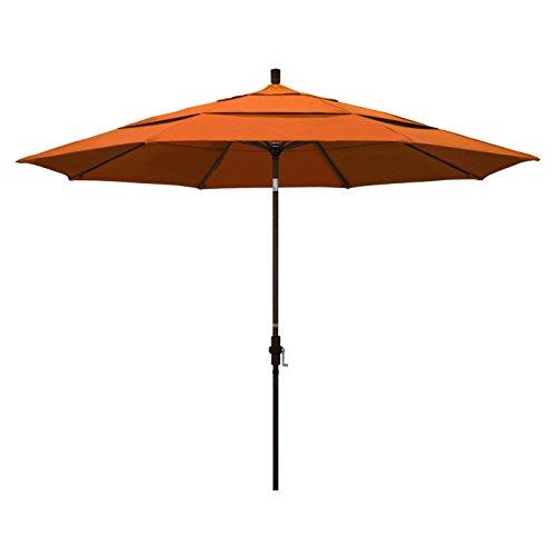 (California Umbrella 11' Round Aluminum Market Umbrella, Crank Lift, Collar Tilt, Bronze Pole, Pacifica Tuscan)