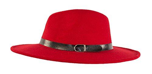 MWS Wide brimmed Gangster Fedora w/Buckle hatband, Large Felt Flat Brim Panama Hat (Bright Red)