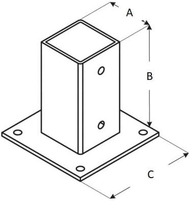 Manicotto di supporto per pali di recinzione Adgo/® 100 x 100 mm a caldo guaina scorrevole in acciaio con manicotto scorrevole colore: Argento zincato