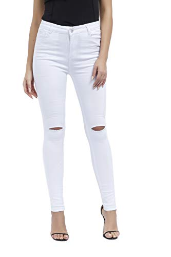Women's Hight Waisted Butt Lift Stretch Ripped Skinny Jeans Distressed Denim Pants US 8 White 2