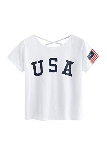 SweatyRocks Women's Letter Print Crop Tops Summer Short Sleeve T-Shirt (Small, White#2)