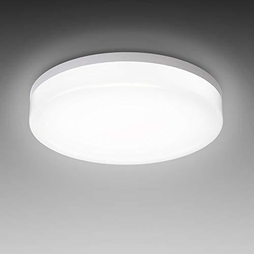 B.K.Licht LED plafondlamp, spatwaterdicht, IP54 incl. 13W 1600lm LED bord, 4000K neutraal wit, 22cm diameter, geschikt…