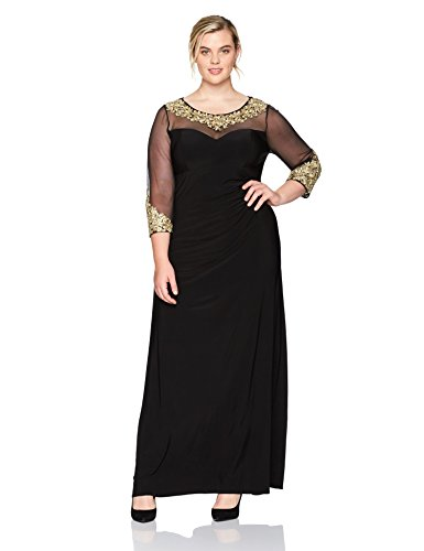- Alex Evenings Women's Plus Size Long Sleeve Sweetheart Neckline Dress, Black/Gold, 14W